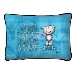 Díszpárna, kék szívvel maci, szeretlek, szerelmes ajándék