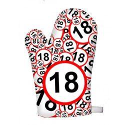 Születésnapi edényfogó kesztyű, 18, 20, 30, 40, 50, 60 számokkal