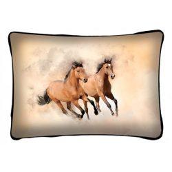 Lovas díszpárna, 2 barna futó ló