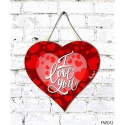 Szív tábla falra, piros szívek, I love you, szerelmes ajándék