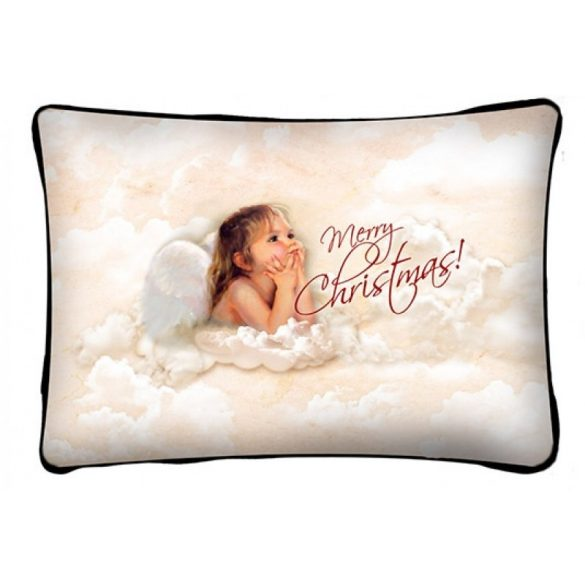 Díszpárna karácsonyra, angyal kislány