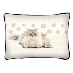 Macskás díszpárna, fehér perzsa macska