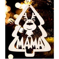 Karácsonyfa dísz, Mama, fenyőfa és rénszarvas