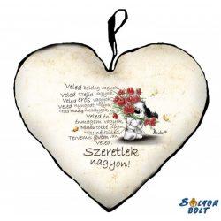 Szív alakú párna, Veled boldog vagyok, szeretlek, kutyus virágokkal