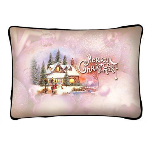 Díszpárna karácsonyra, házikó