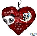 Szív alakú párna, rólad álmodom, panda maci