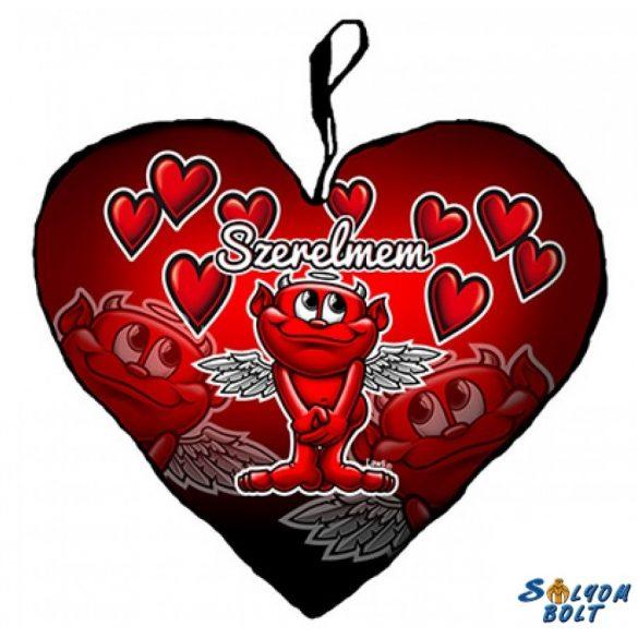 Szív alakú párna, ördög szívekkel, szerelmem
