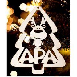 Karácsonyfa dísz, Apa, fenyőfa és rénszarvas