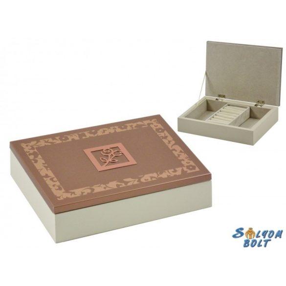 Ékszertartó doboz, ékszerdoboz, fém virág díszítéssel