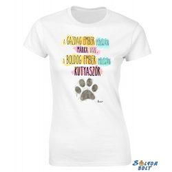 Vicces női póló, A gazdag ember pólóján márka van, a boldog ember pólóján kutyaszőr