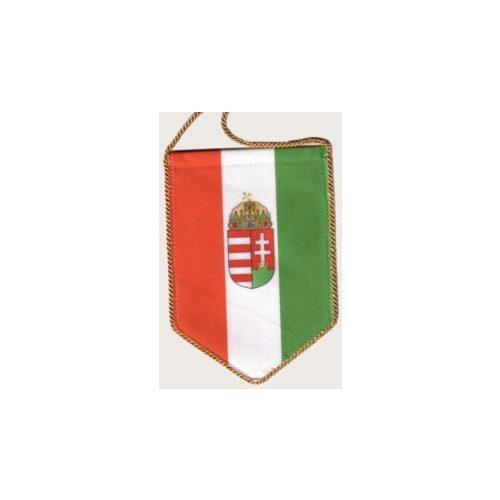 Autós zászló, 5 szögletű, címeres, arany színű zsinórral