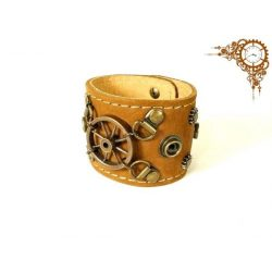 Leather and metal bracelet, Steampunk