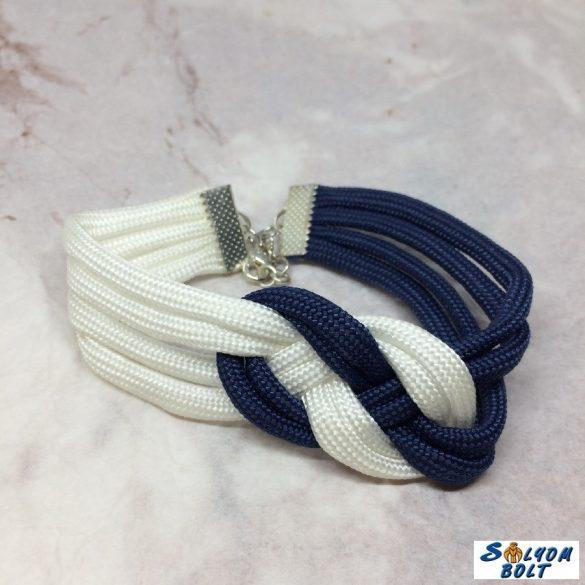 Tengerész csomós karkötő kék-fehér színben, kézműves termék