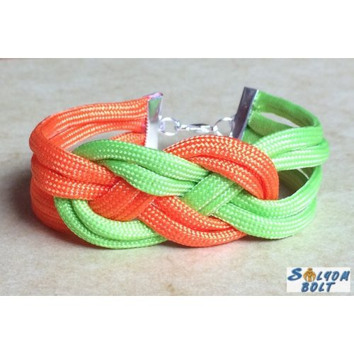 Tengerészcsomós karkötő, neonzöld-narancssárga színben, kézműves termék