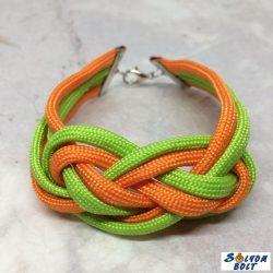 Tengerészcsomós karkötő neonzöld-narancssárga színben, kézműves termék