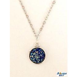 Kézműves nyaklánc, kétoldalú, drúza achát jellegű medállal, kék