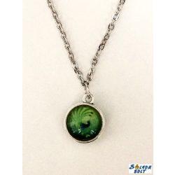 Kézműves nyaklánc, kétoldalú, zöld páva mintás medállal