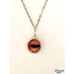 Kézműves nyaklánc, kétoldalú, narancssárga szem mintás medállal