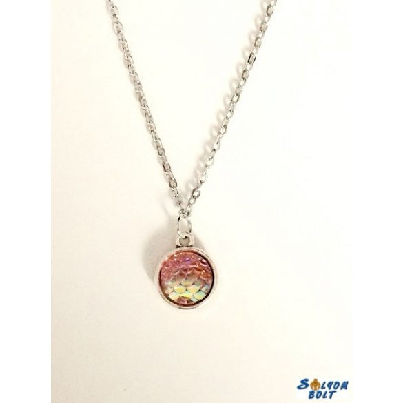 Kézműves nyaklánc, kétoldalú, rózsaszín pikkely mintás medállal