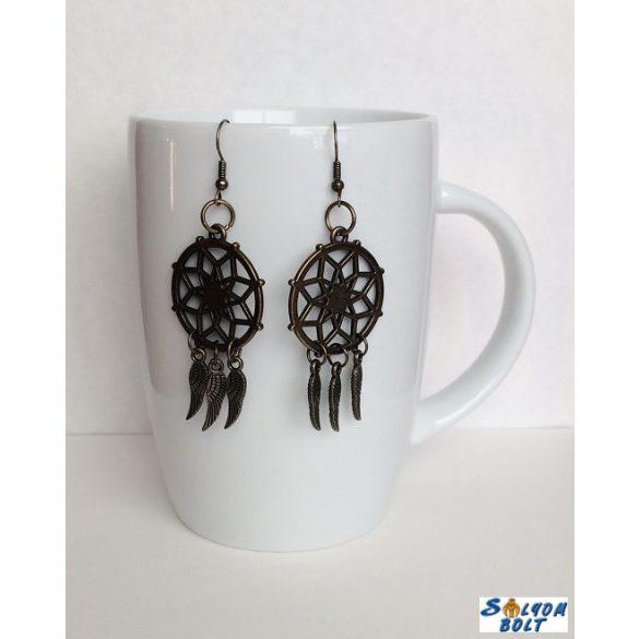 Álomfogó fülbevaló angyalszárnyakkal, kézműves termék