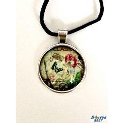 Vintage, pillangós medállal nyaklánc, bőr szíjon, kézműves termék