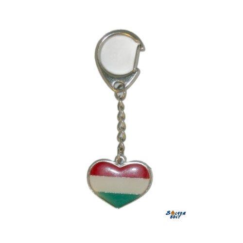 Nemzeti színű szív kulcstartó