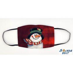Vicces szájmaszk, karácsonyi, hóember fej