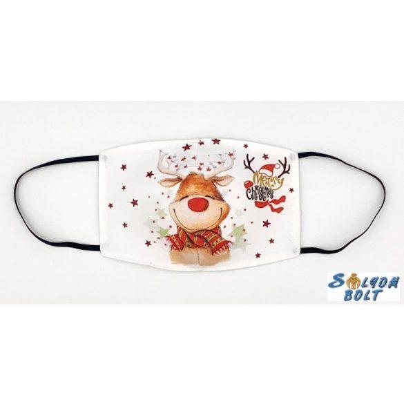 Vicces szájmaszk, karácsonyi, Rudolf rénszarvas