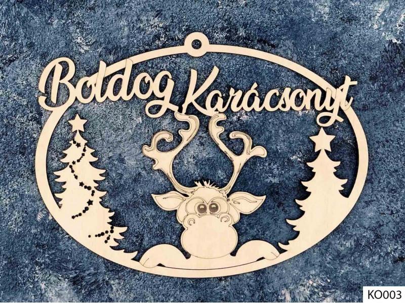 Karácsonyi dekoráció, ajtódísz, Rudolf szarvas